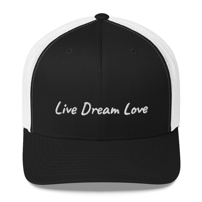 Live Dream Love, Black White, Embroidered Snapback Hat, Unisex, Front, Mockup