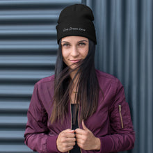 Load image into Gallery viewer, Live Dream Love, Black, Embroidered, Beanie, Unisex, Front, Female Model, Burgundy Bomber Jacket