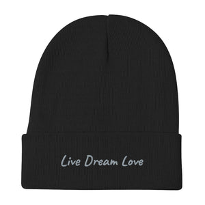Live Dream Love, Black, Embroidered, Beanie, Unisex, Front, Mockup