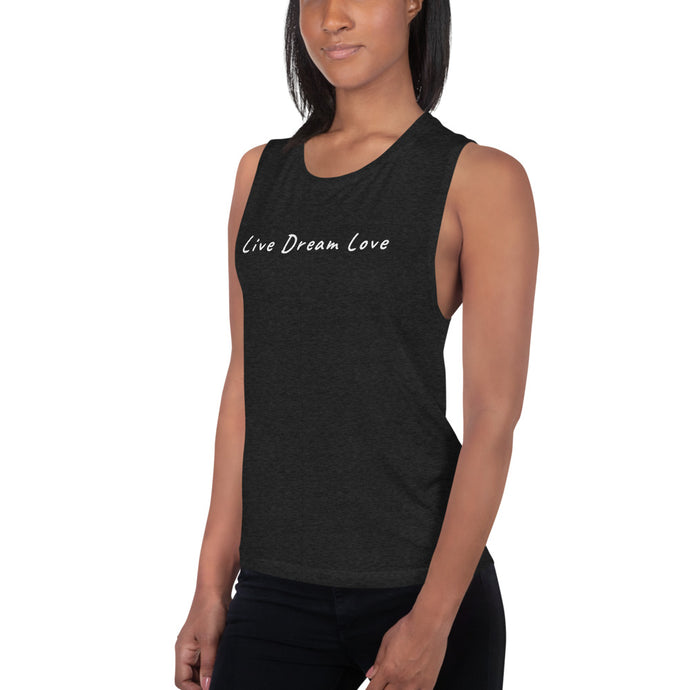 Live Dream Love, Black Heather, Muscle Tank Top, Unisex, Female Model, Left
