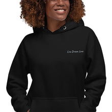 Load image into Gallery viewer, Black-Female-Model-Tomboy-Style-Black-Embroidered-Hoodie-Live-Dream-Love-Androgynous-Gender-Neutral-Fashion