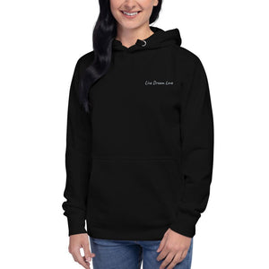Live Dream Love, Black, Embroidered, Hoodie, Front, Female Model