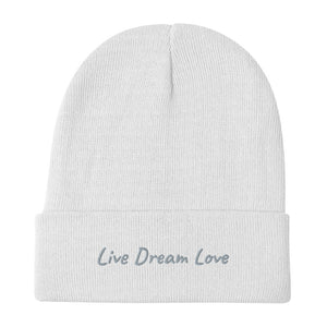 Live Dream Love, White, Embroidered, Beanie, Unisex, Front, Mockup
