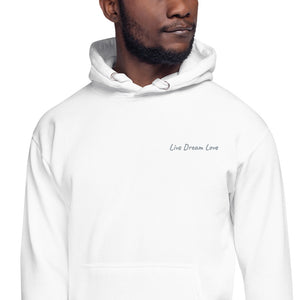 Live Dream Love, White, Embroidered, Hoodie, Front Detail, Black Male Model