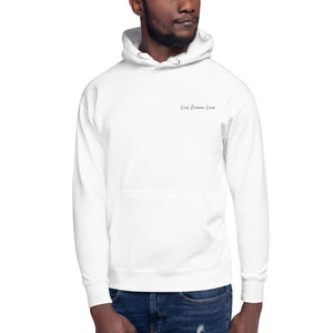Live Dream Love, White, Embroidered, Hoodie, Front, Black Male Model