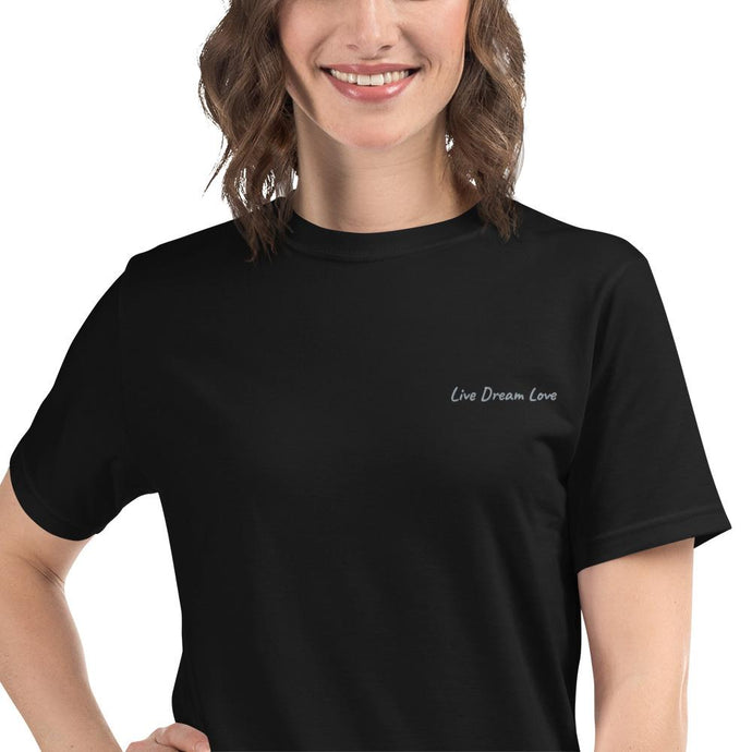 Live Dream Love, Black, Organic, Eco-Friendly, Embroidered,T-Shirt, Unisex, Front, Female Model