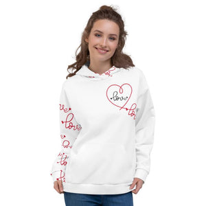 Heart Mind Body Alignment, White Hoodie, Female Model, Front View