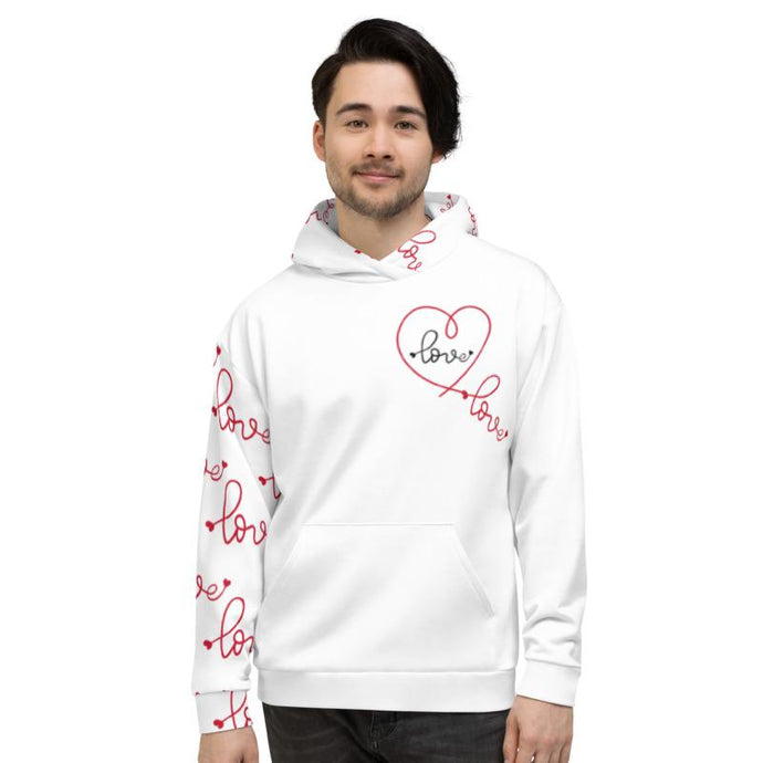 Heart Mind Body Alignment, White Hoodie, Male Model, Front View