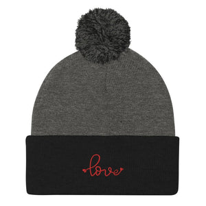 Love Embroidered Pom Beanie, Grey/Black Red Embroidery