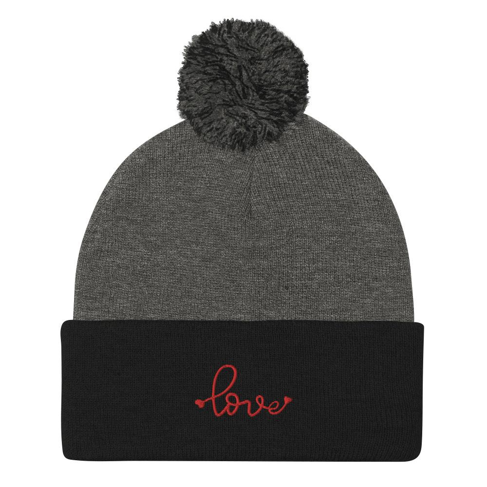Love-Embroidered-Tomboy-Pom-Beanie-Grey-Black-Red