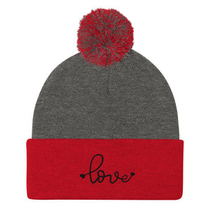 Love-Embroidered-Tomboy-Pom-Beanie-Grey-Red-Black