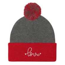 Load image into Gallery viewer, Love Embroidered Pom Beanie, Grey/Red White Embroidery