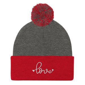 Love Embroidered Pom Beanie, Grey/Red White Embroidery
