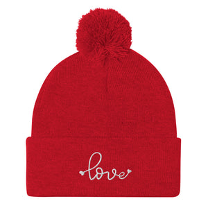 Love Embroidered Pom Beanie, Red White Embroidery