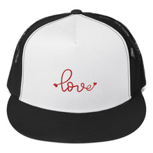 Load image into Gallery viewer, love-embroidered-tomboy-snapback-unisex-white-black-red