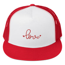 Load image into Gallery viewer, love-embroidered-tomboy-snapback-unisex-red-and-white