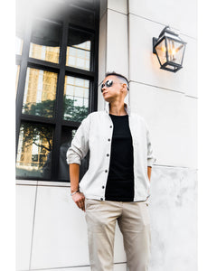 Tomboy-Model-Date-Night-Summer-Outfit-Dapper-GAP-Khakis-Black-T-shirt-Sorensen-Jacket-Gender-Neutral-Androgynous-Fashion