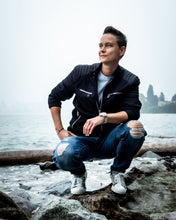 Load image into Gallery viewer, Tomboy-Style-Fall-Fashion-Outfit-Black-Zara-Jacket-Blue-Pocket-Shirt-Blue-Ripped-Jeans-White-Sneakers-Silver-Watch-Silver-Black-Bracelet-Vancouver
