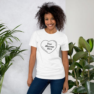 Smiling black young millennial woman posing wearing blue jeans and personalized Valentine's Day T-Shirt in white colour.