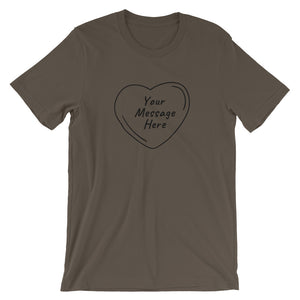 Flat mockup of a personalized Valentine's Day T-Shirt in Army Brown colour.