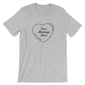 Flat mockup of a personalized Valentine's Day T-Shirt in Athletic Heather Grey colour.