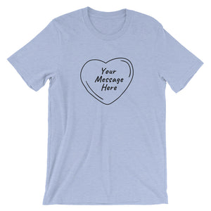 Flat mockup of a personalized Valentine's Day T-Shirt in Heather Blue colour.
