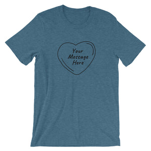 Flat mockup of a personalized Valentine's Day T-Shirt in Heather Deep Teal colour.
