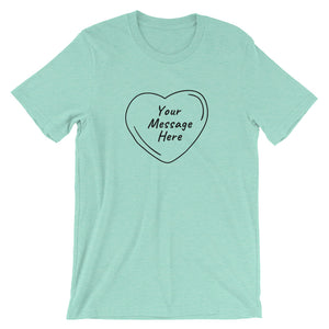 Flat mockup of a personalized Valentine's Day T-Shirt in Heather Mint colour.