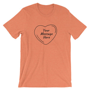 Flat mockup of a personalized Valentine's Day T-Shirt in Heather Orange colour.