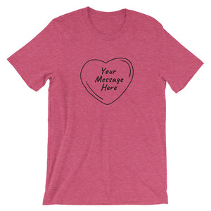 Flat mockup of a personalized Valentine's Day T-Shirt in Heather Raspberry colour.