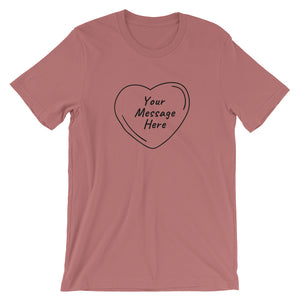 Flat mockup of a personalized Valentine's Day T-Shirt in Heather Mauve colour.
