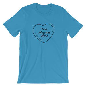 Flat mockup of a personalized Valentine's Day T-Shirt in Ocean Blue colour.
