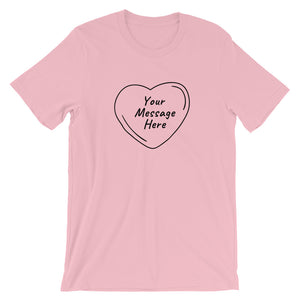 Flat mockup of a personalized Valentine's Day T-Shirt in Pink colour.