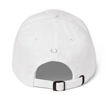 Load image into Gallery viewer, HLD Logo Embroidered Hat - Low Profile Adjustable Unisex Cotton Hat, White hat with grey logo, mockup, back