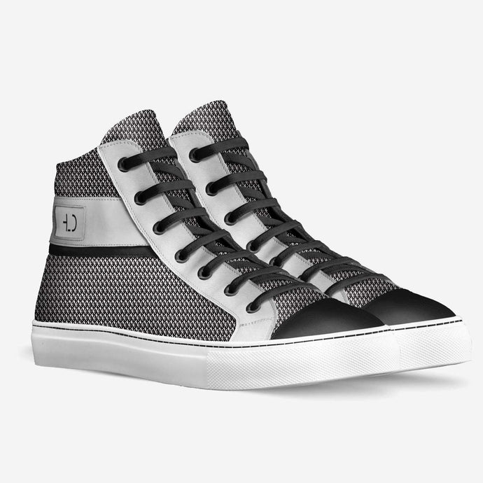Tomboy-Clothing-Fashion-Vegan-High-Top-Black-and-White-Sneakers-Handmade-in-Italy-Unisex-Gender-Neutral-Androgynous-3-4-view