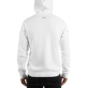 Tomboy-Clothing-Fashion-White-Hoodie-with-Printed-Sleeves-Happiness-Love-Dreams-Unisex-Gender-Neutral-Androgynous-Back-View