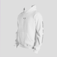Load image into Gallery viewer, Tomboy-Clothing-Fashion-White-Hoodie-with-Printed-Sleeves-Happiness-Love-Dreams-Unisex-Gender-Neutral-Androgynous-3-4-View