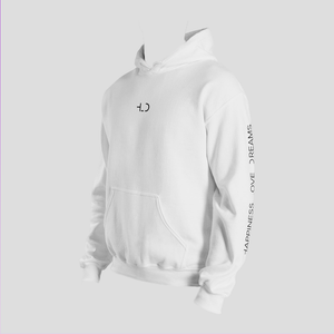 Tomboy-Clothing-Fashion-White-Hoodie-with-Printed-Sleeves-Happiness-Love-Dreams-Unisex-Gender-Neutral-Androgynous-3-4-View