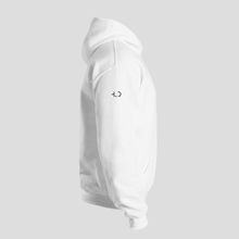 Load image into Gallery viewer, Tomboy-Clothing-Fashion-White-Hoodie-with-Printed-Sleeves-Happiness-Love-Dreams-Unisex-Gender-Neutral-Androgynous-Side-View