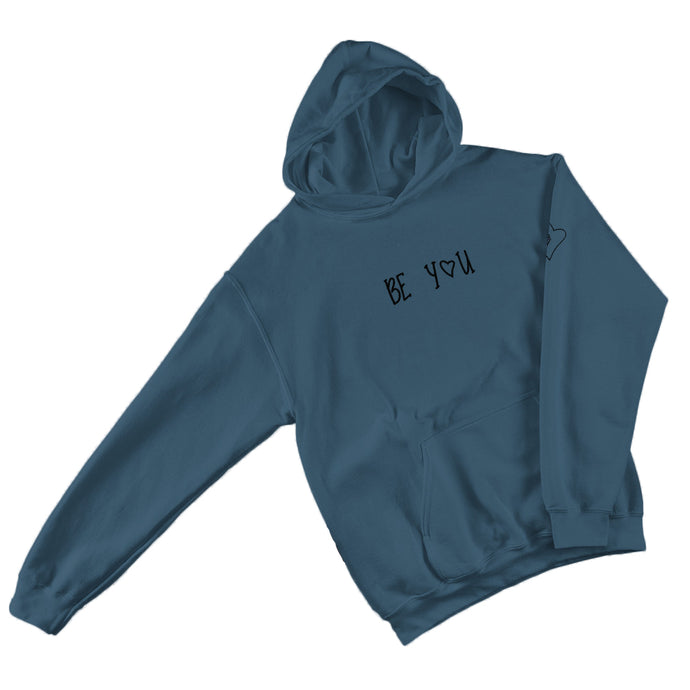 Be-You-With-Every-Beat-Of-Your-Heart-Blue-Hoodie-Printed-Sleeve-Unisex