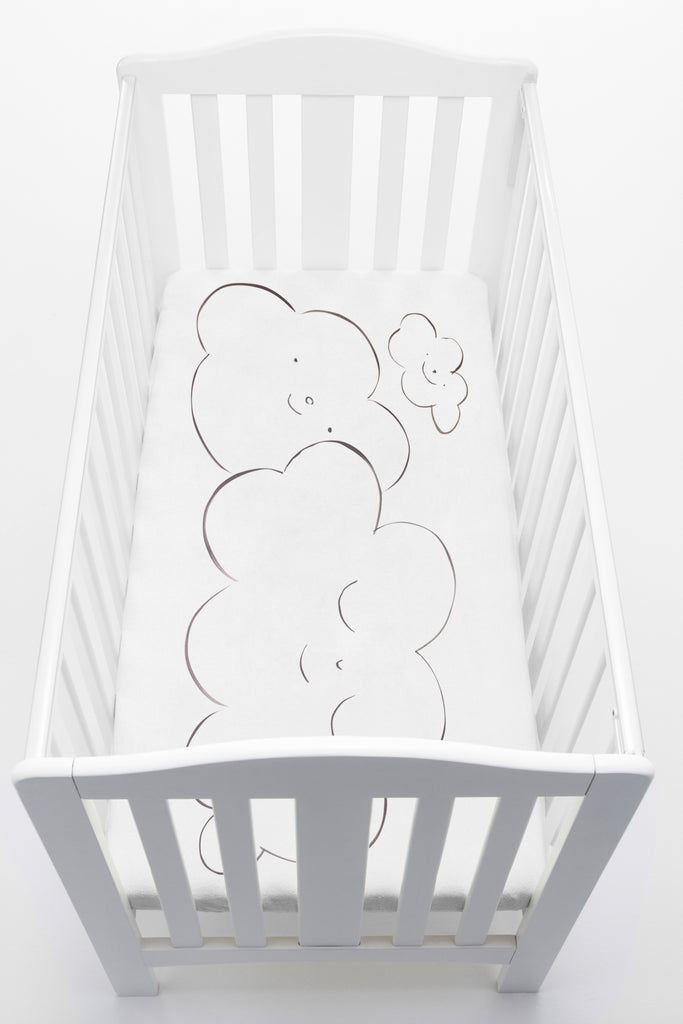 baby - hand painted cot sheet 'clouds' bespoke sheet