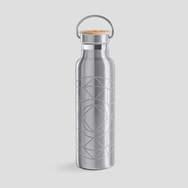 Stainless Steel Drink Bottle with bamboo lid - Mandala