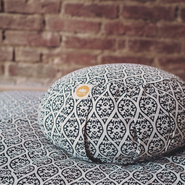 Zafu Meditation Cushion ZEN Black Block Print Edition