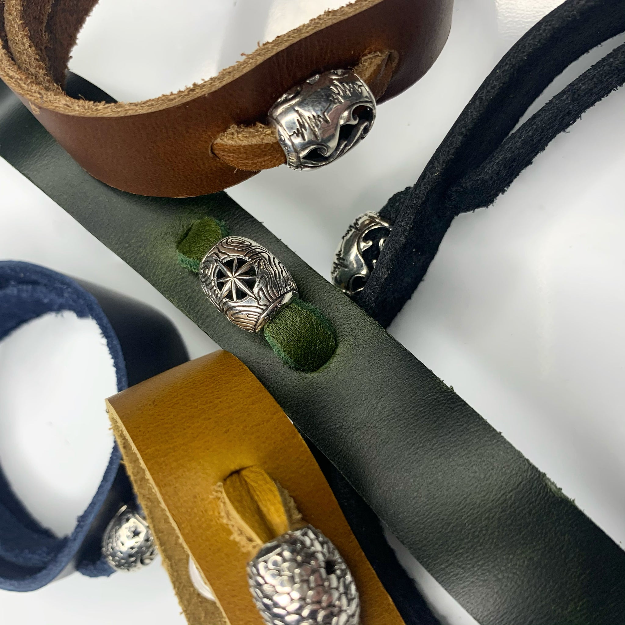 TAO Exclusive Handmade Silver with Leather Bracelet