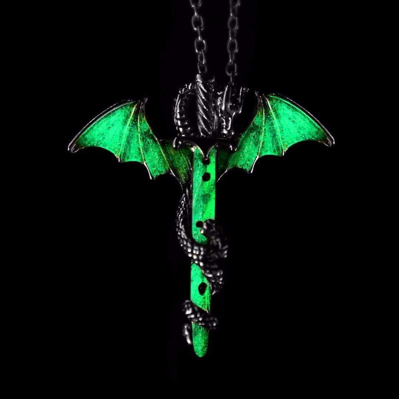 GLOW Hard Dragon and the Sword Necklace