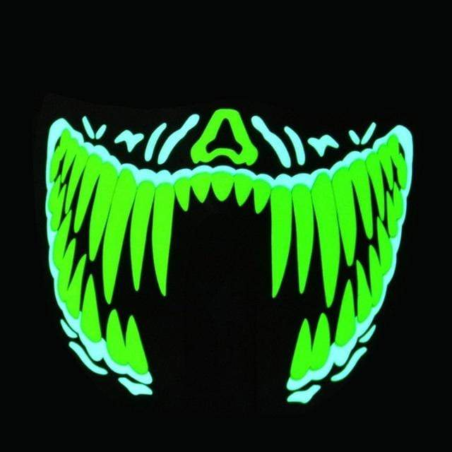 GLOW Hard Green Venom 'Big Terror' Sound Activated Mask