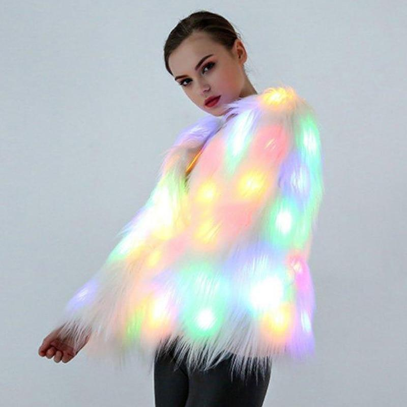 GLOW Hard Wispy LED Faux Fur Coat (No Hood)