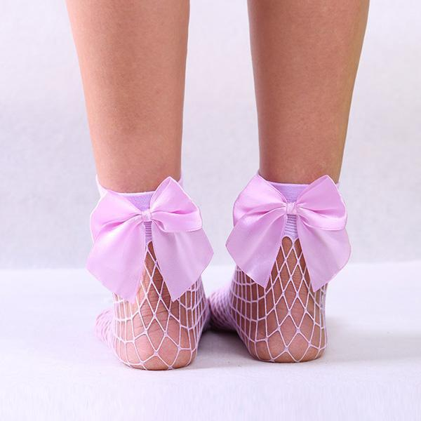 Women Fishnet Bow Socks