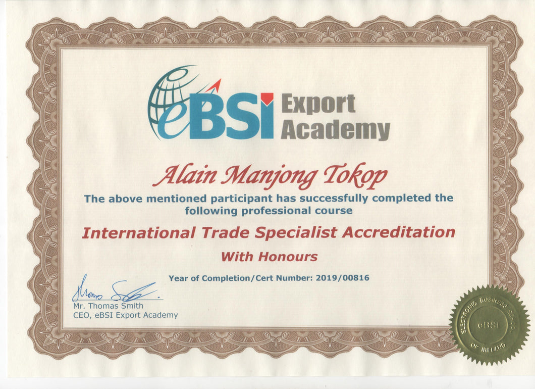 ITSAFT - International Trade Specialist Accreditation - Fast Track Program - eBSI Export Academy