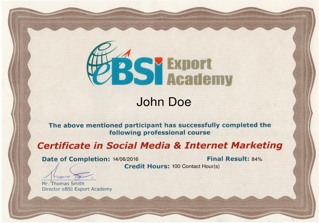 CSMIM - Certificate in Social Media and Internet Marketing - eBSI Export Academy